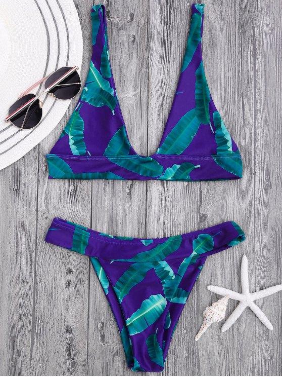 hot High Cut Banana Leaf Plunge Bikini Set - BLUE AND GREEN M
