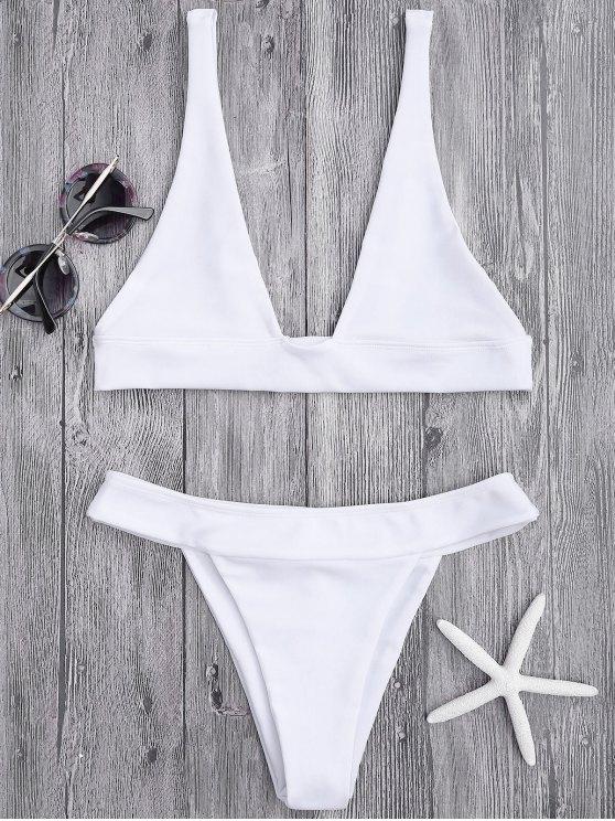 women's Plunge Bikini Top and High Cut Bottoms - WHITE M