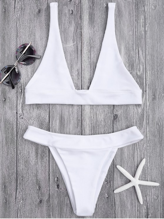 ladies Plunge Bikini Top and High Cut Bottoms - WHITE S