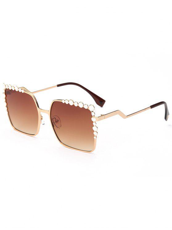 women Rectangle UV Protection Polka Dot Embellished Sunglasses - TEA-COLORED