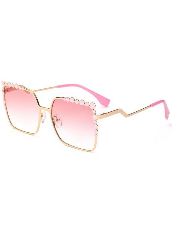 Gafas de sol Rectangle UV Protection Polka Dot Embellished - Rosa Luz