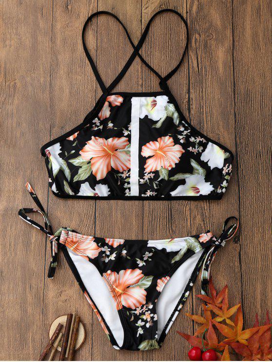 Ensemble de bikini à bretelles imprimé à motif floral à dos-nu - Multicolore S