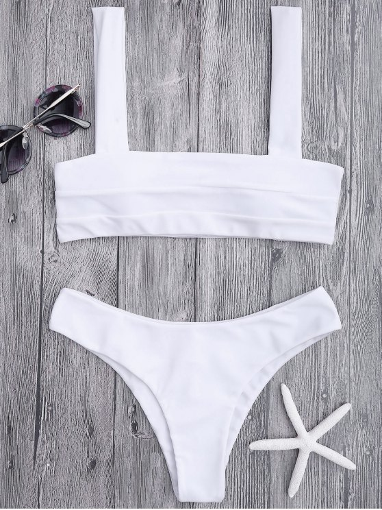 latest Bandeau Padded Bikini Top and Bottoms - WHITE S