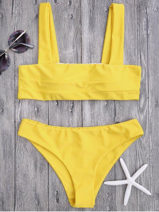 fancy Bandeau Padded Bikini Top and Bottoms - YELLOW L