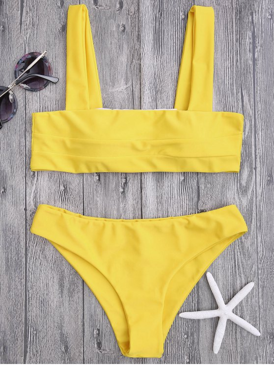 unique Bandeau Padded Bikini Top and Bottoms - YELLOW M