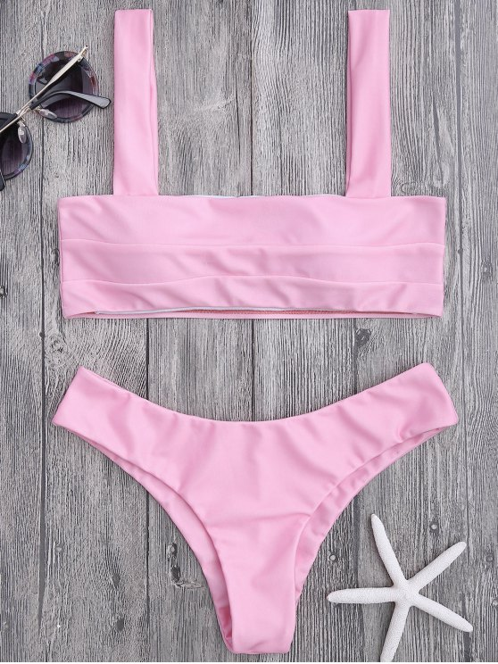 affordable Bandeau Padded Bikini Top and Bottoms - PINK L