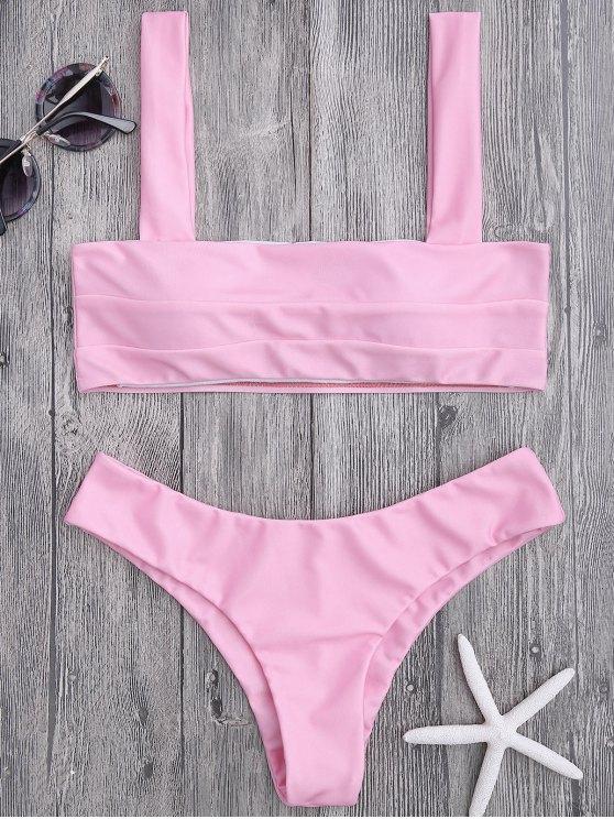 womens Bandeau Padded Bikini Top and Bottoms - PINK S