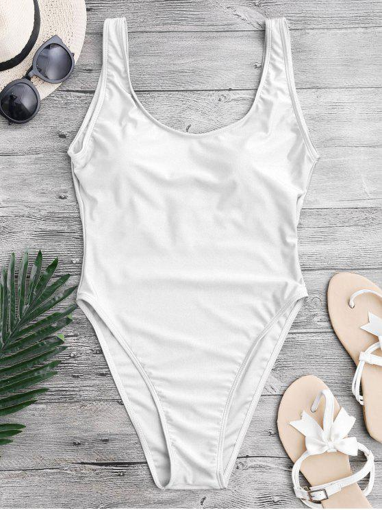 fashion High Cut Backless Swimsuit - WHITE XS