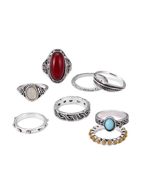 Conjunto de anel de dedo da folha oval vintage - Prata