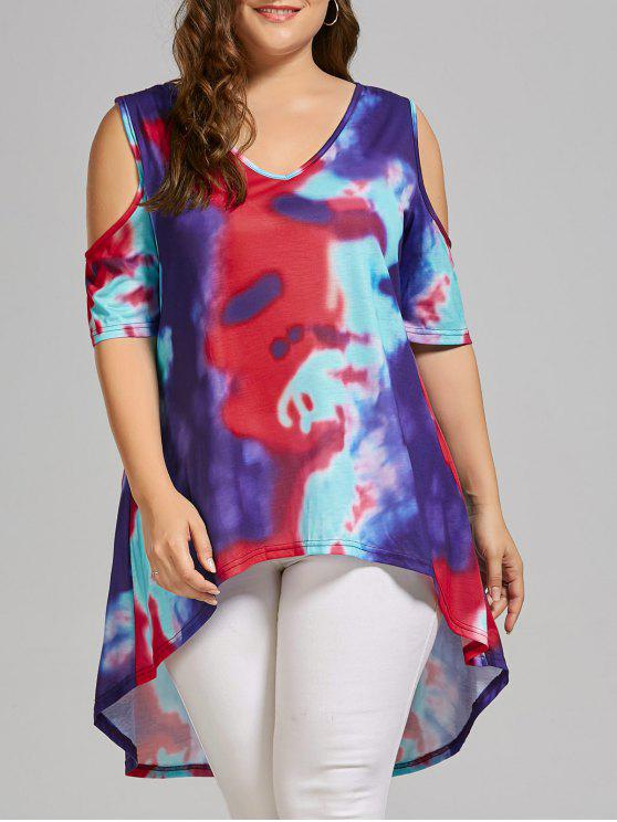 lady Plus Size Tie Dye Cold Shoulder High Low T-shirt - MULTICOLOR XL