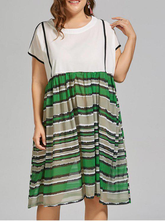 28% OFF] 2019 Plus Size Stripe Midi Beach Smock Dress In WHITE   ZAFUL