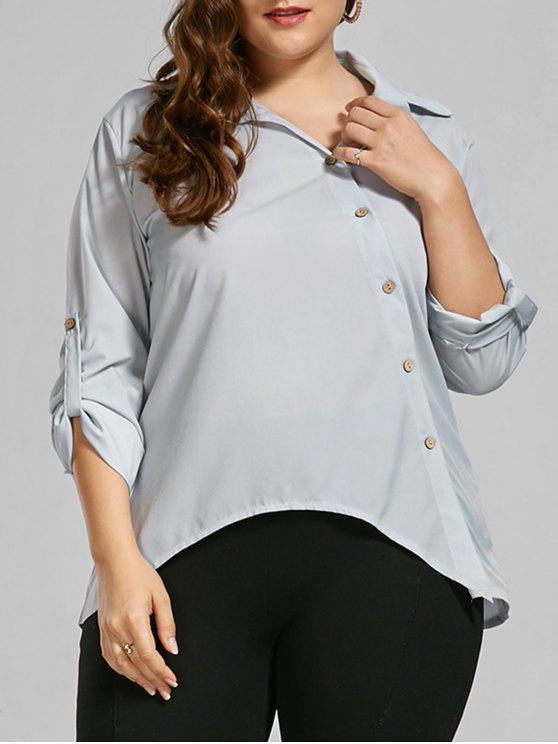 women Button Up Long Sleeve Plus Size Shirt - LIGHT GREY 5XL