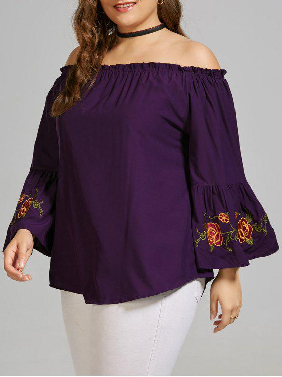 latest Plus Size Embroidered Off the Shoulder Blouse with Flare Sleeve - DEEP PURPLE 5XL
