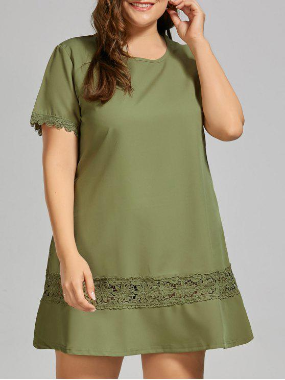 dbd308054e1 28% OFF  2019 Plus Size Lace Crochet Trim T-shirt Dress In ARMY ...