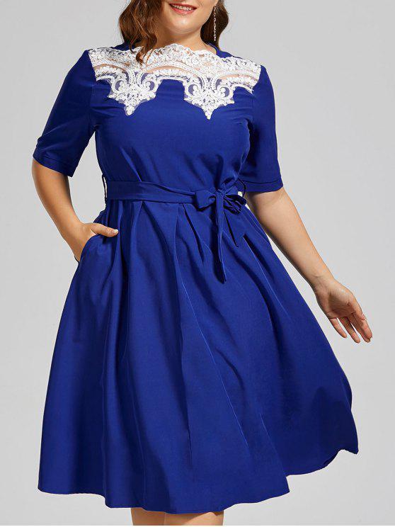 Plus Size Lace Panel Midi Modest Dress BLUE TURQUOISE WINDSOR BLUE