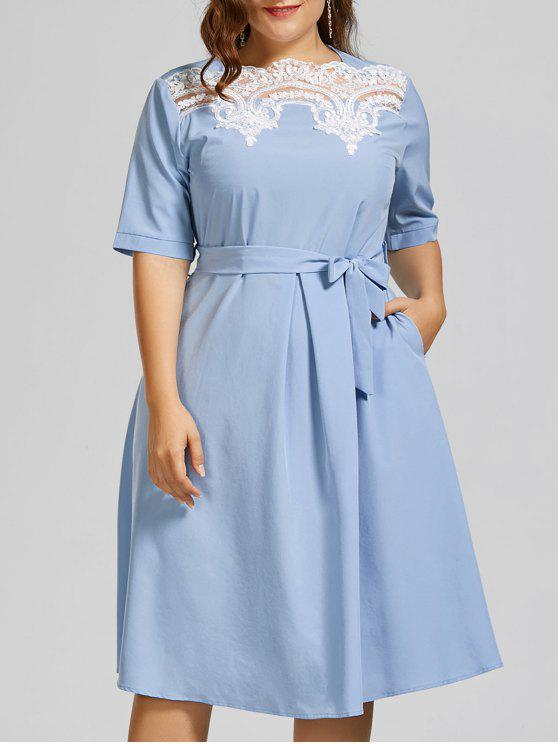 26% OFF] 2019 Plus Size Lace Panel Midi Modest Dress In WINDSOR BLUE ...