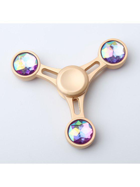 الماس مثلث الإجهاد الإغاثة الإصبع الدوران سبينر - ذهبي 8 * 8 * 1.2CM