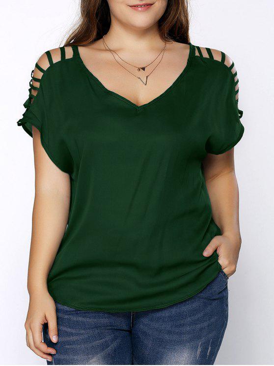 تيشيرت زيادة الحجم رقبة على شكل V اكمام ممزق - مسود الخضراء XL