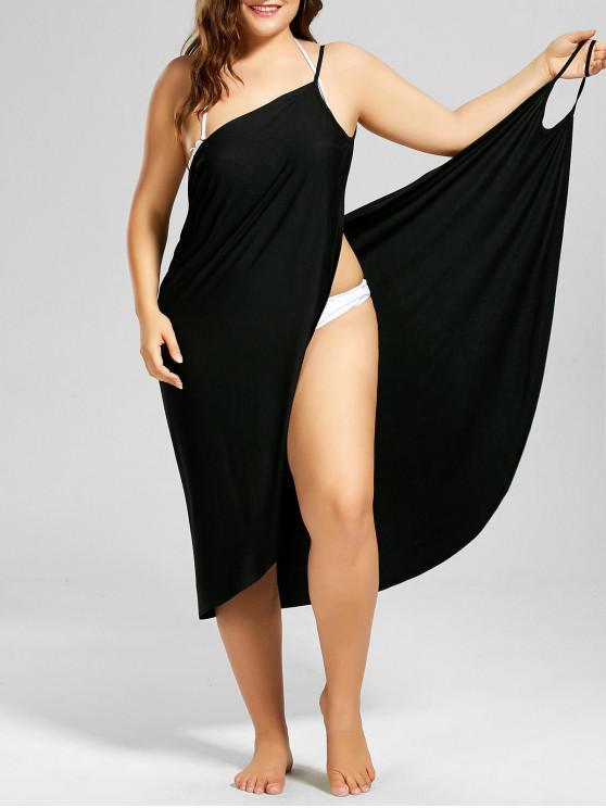 womens Plus Size Beach Cover-up Wrap Dress - BLACK XL