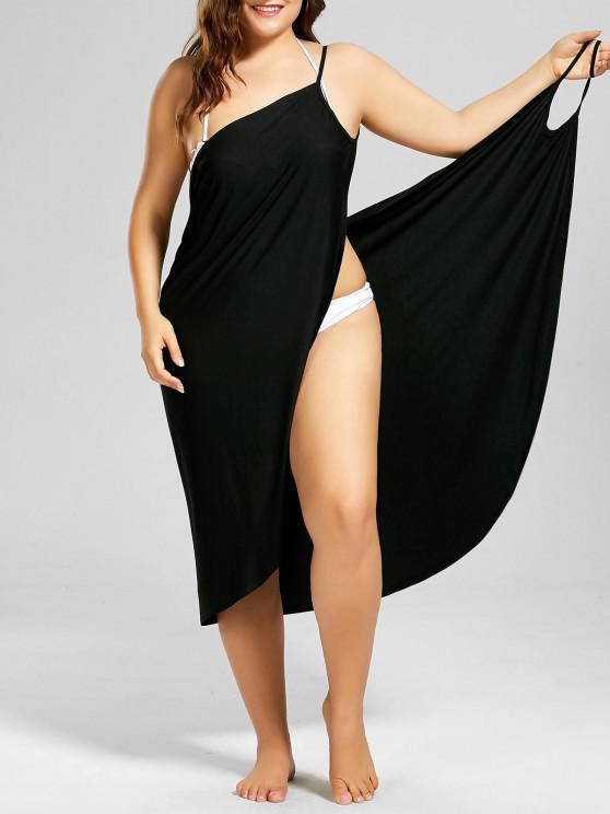 women's Plus Size Beach Cover-up Wrap Dress - BLACK 3XL