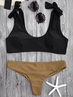 Tie Shoulder Padded Scoop Bikini Set - Black L
