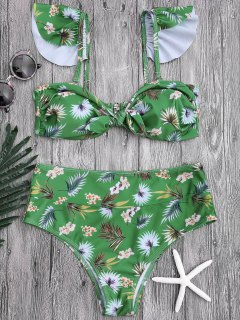 Floral Print Knotted High Waisted Bikini Set - Green L