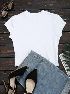 Ruffled Cropped Ribbed Top - White M
