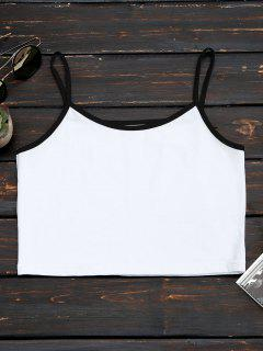 Cotton Color Block Cropped Tank Top - White M