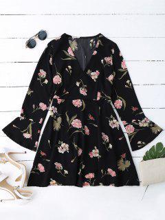 Floral Bell Sleeve Surplice Dress - Black L