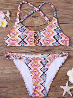 Bikini Paddé Imprimé De Motifs Géométriques à Bretelles Entrecroisées - 2xl