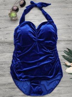 Halter Padded Velvet Plus Size Bathing Suit - Royal 4xl