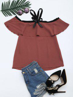 Blusa De Cuello Alto - Rojo Ladrillo