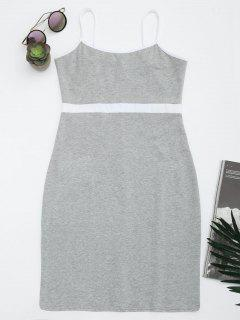 Two Tone Bodycon Slip Mini Dress - Gray S