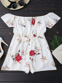 Off The Shoulder Floral Drawstring Playsuit - White S