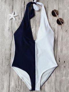 Traje De Baño De Una Pieza - Azul Y Blanco M