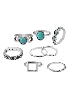 Artificial Turquoise Oval Finger Ring Set - Silver