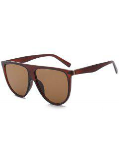Attached Frame Anti UV Wide Sunglasses - Tea-colored