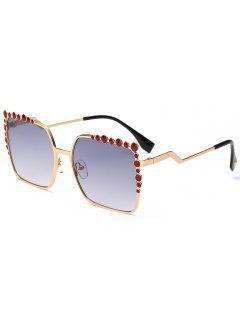 Gafas De Sol Rectangle UV Protection Polka Dot Embellished - Gris