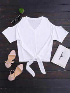 Hombro Frío De La Camiseta Del Lazo Del Uno Mismo Del Cuello De V - Blanco L