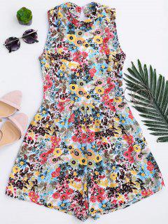 Floral Print Backless Romper - Floral M
