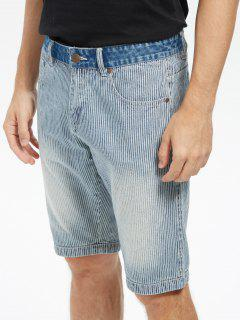 Zip Fly Vertical Stripe Denim Shorts - Light Blue 36