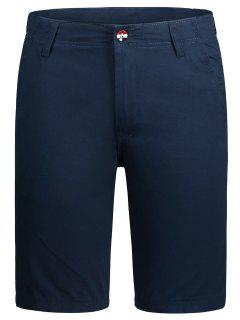 Zip Fly Pocket Plain Chino Shorts - Cadetblue 34