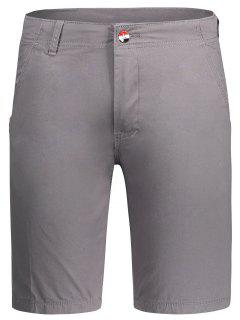 Zip Fly Plain Chino Shorts - Gray 36