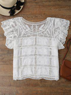 Butterfly Sleeve Crochet Cover Up - White