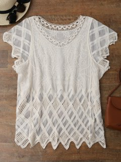 Geometric Embroidered Crochet Panel Cover Up - Off-white