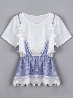 Lace Panel Faux Twin Set Striped Tee - White M