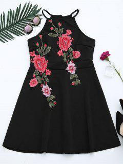 Floral Patched Cami Flare Dress - Black M
