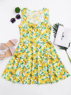 Lemon Print Sleeveless Sweetheart Dress - Yellow Xl
