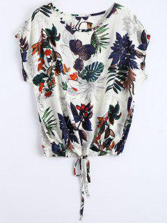 Round Collar Leaves Print Drawstring Blouse - Multi