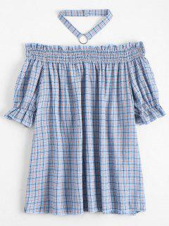 Ruffled Checked Blouse With Chocker - Checked S